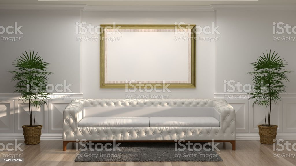 mock up empty golden photo frame with white sofa in front of empty white wall decorative items minimal style in empty room vintage style,3D rendering luxury living room modern mid century room interior home design stock photo