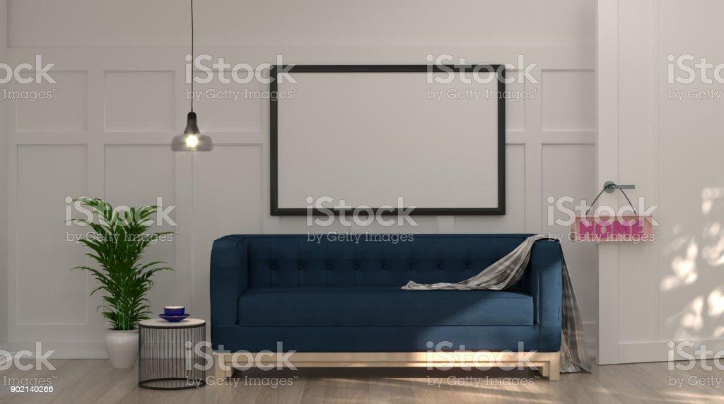 Mock Up Leer Foto Frame Dunkel Blauen Sofa Vor Weißen Wand Mit Lampe Und  Sideboard