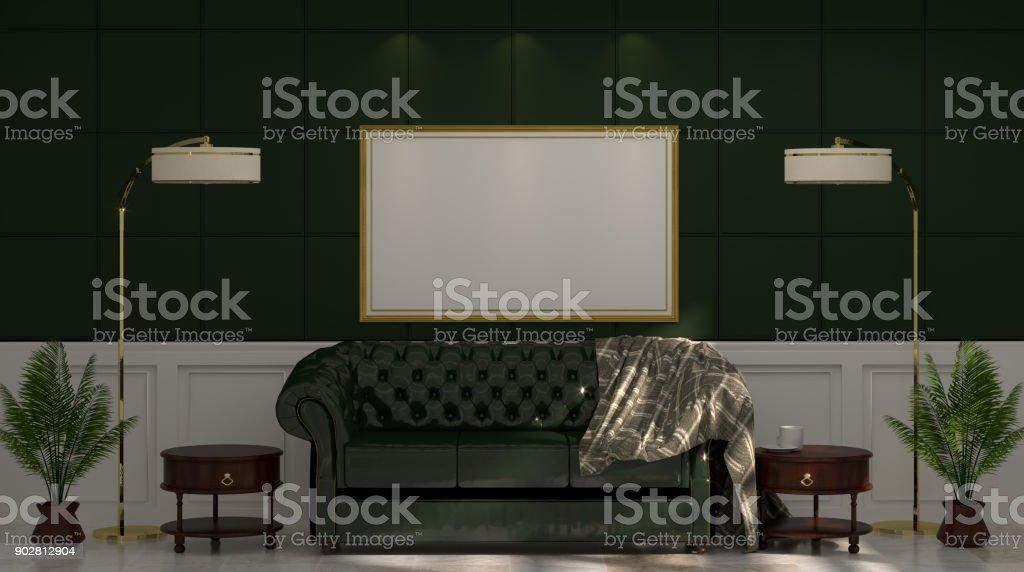 Mockup Leer Foto Frame Grune Sofa Und Lampe Vor Grunen Wand Mit