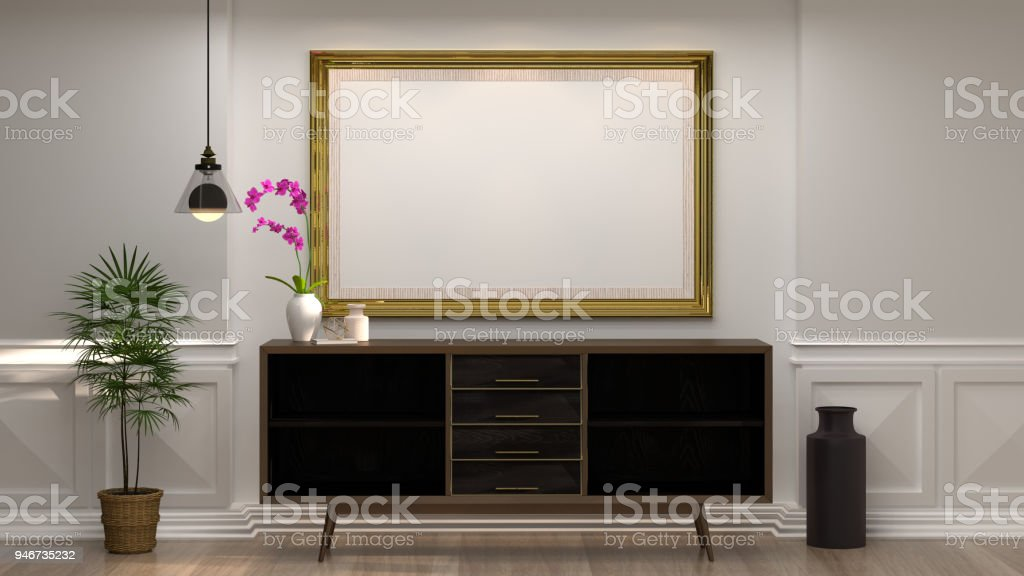 mock up empty photo frame with wooden cabinet with lamp in front of empty white wall decorative items minimal style in empty room vintage style,3drendering luxury living room modern mid century room interior home design stock photo