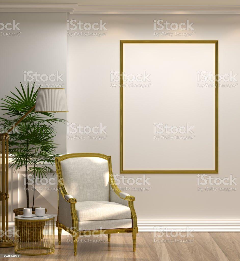 Mock Up Leer Foto Goldrahmen Weißen Sessel Und Lampe Vor Grünen Wand Mit  Lampe Und