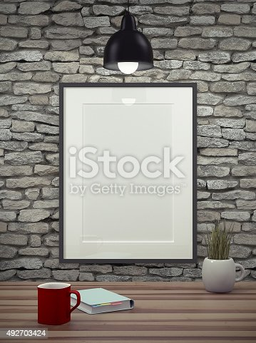 istock Mock up empty picture frame. 492703424