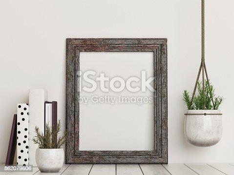 istock Mock up empty rustic frame 862079606