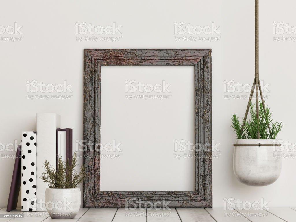 Mock-up leeren rustikalen Rahmen – Foto