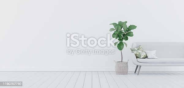 1095381860 istock photo Mock up, Empty White Living room, interior design with copy space 3D Render 1190252792