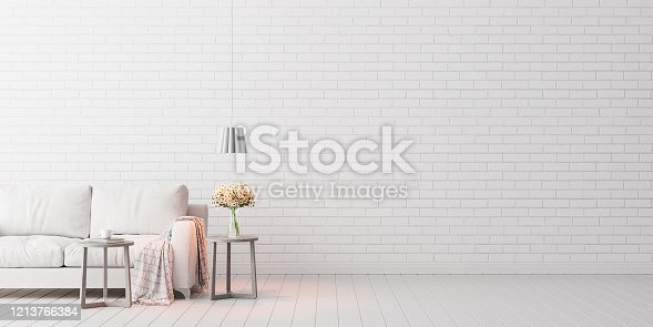 Mock up, Empty White Living room, interior design with copy space 3D Render 3D illustration