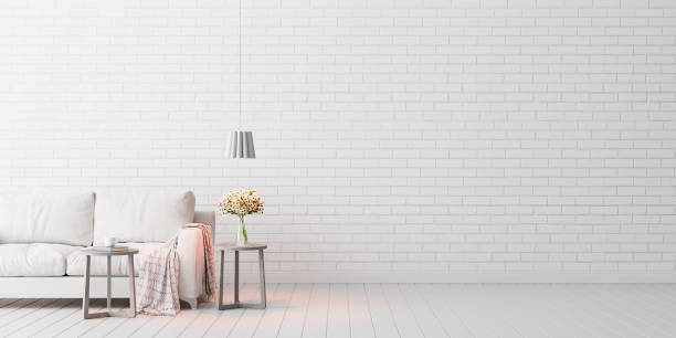 Mock up, Empty White Living room, interior design with copy space 3D Render Mock up, Empty White Living room, interior design with copy space 3D Render 3D illustration wallpaper decor stock pictures, royalty-free photos & images