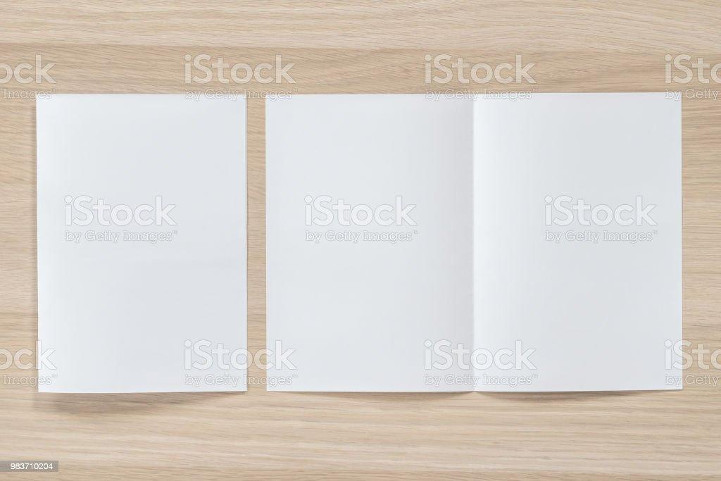 mock up flyer pamphlet brochure design a4 size halffolded paper