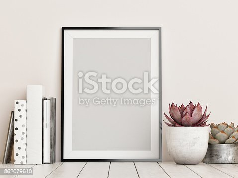istock Mock up frame, hipster background 862079610