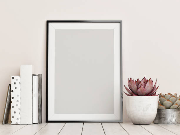 mock up frame, hipster background - retro decor stock photos and pictures