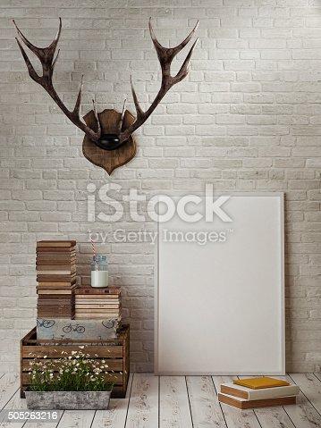 istock Mock up frame, hipster's concept, horn, books 505263216