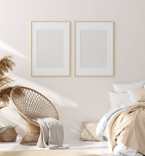 Mock up frame in bedroom interior, beige room with natural wooden furniture, Scandinavian style Mock up frame in bedroom interior, beige room with natural wooden furniture, Scandinavian style, 3d render wicker stock pictures, royalty-free photos & images