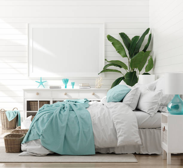 Mock up frame in bedroom interior, marine room with sea decor and furniture, Coastal style Mock up frame in bedroom interior, marine room with sea decor and furniture, Coastal style, 3d render bedroom stock pictures, royalty-free photos & images