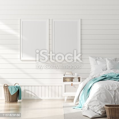 istock Mock up frame in bedroom interior, marine room with sea decor and furniture, Coastal style 1151829150