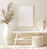 Mock up frame in home interior background, beige room with natural wooden furniture, 3d render