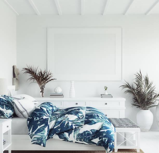 mock up ram i vitt mysigt tropiskt sovrum inredning, kust stil - kustlinje bildbanksfoton och bilder