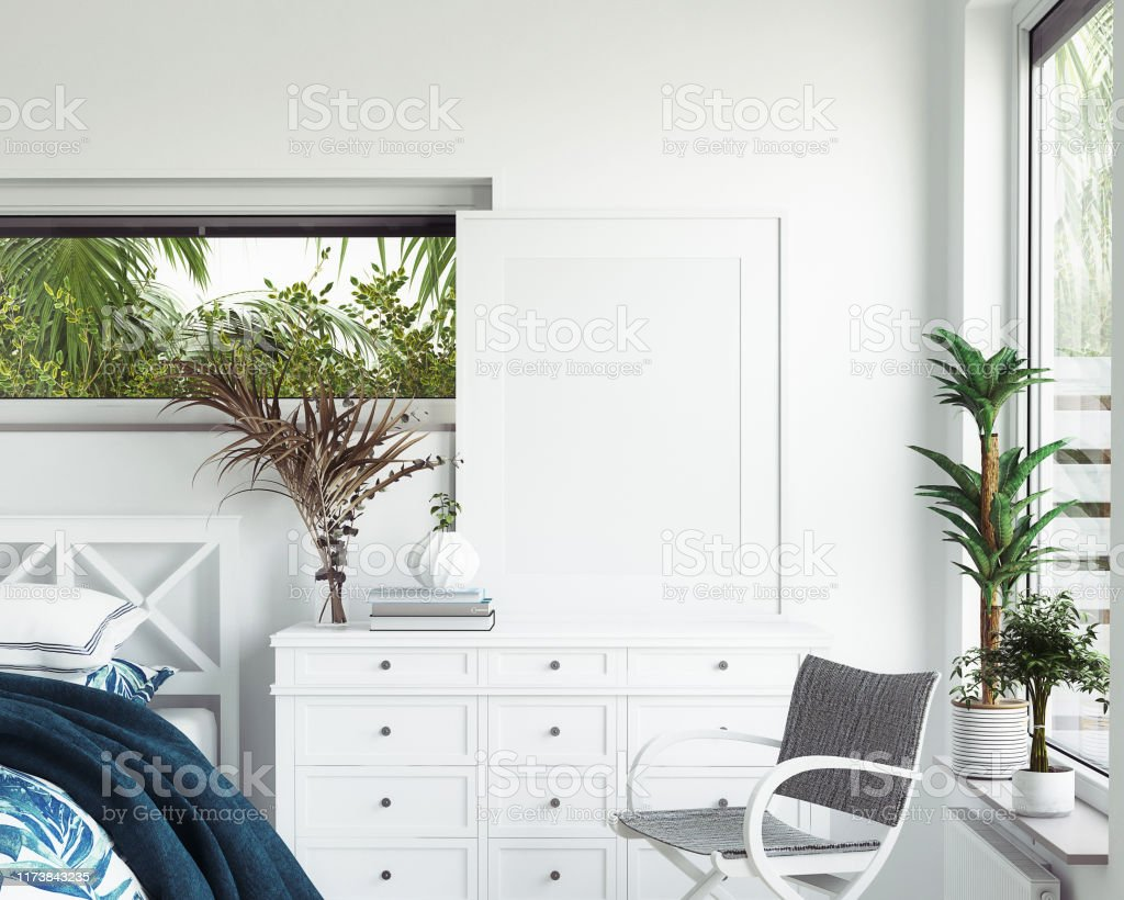 Mock Up Frame In White Cozy Tropical Bedroom Interior Coastal Style Stock Photo Download Image Now Istock