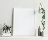 Mock up frame interior background, Scandinavian style, 3d render