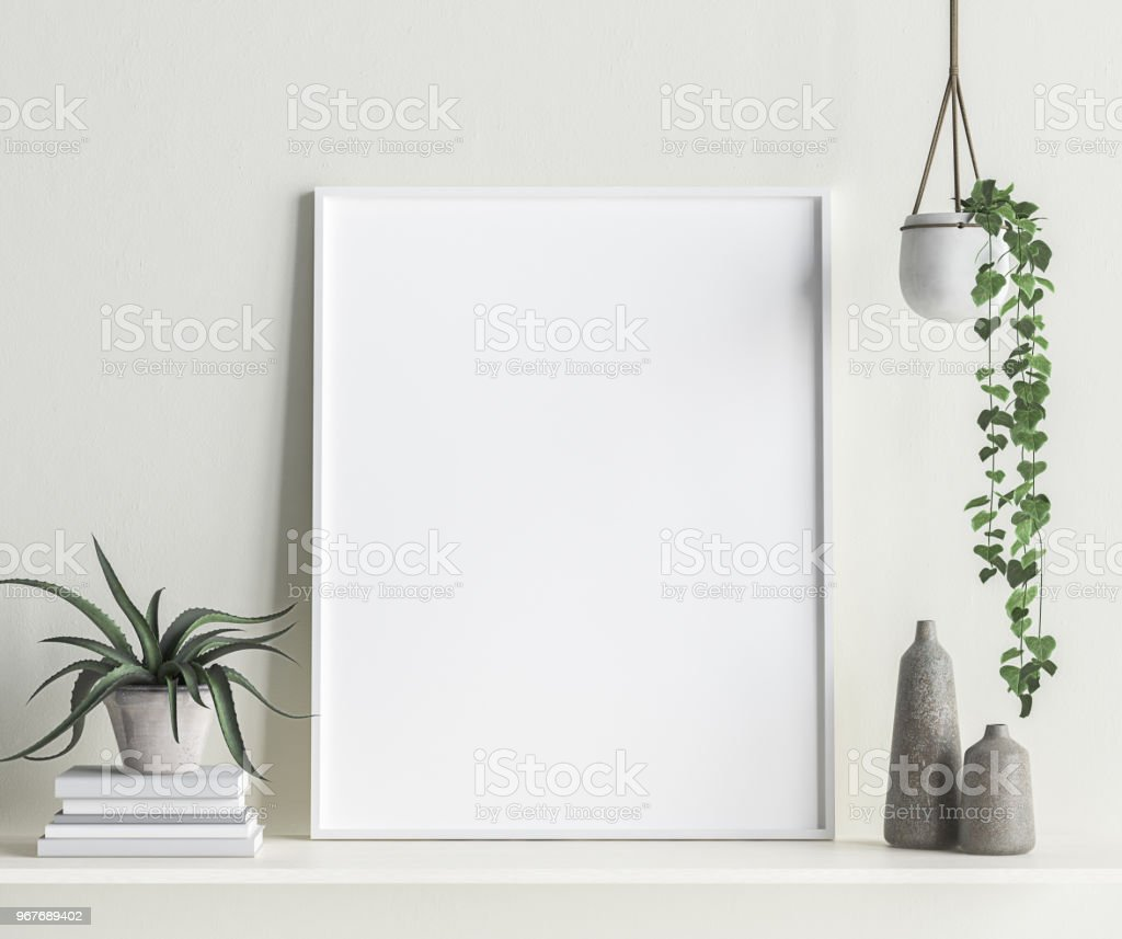 Mock up frame interior background, Scandinavian style stock photo