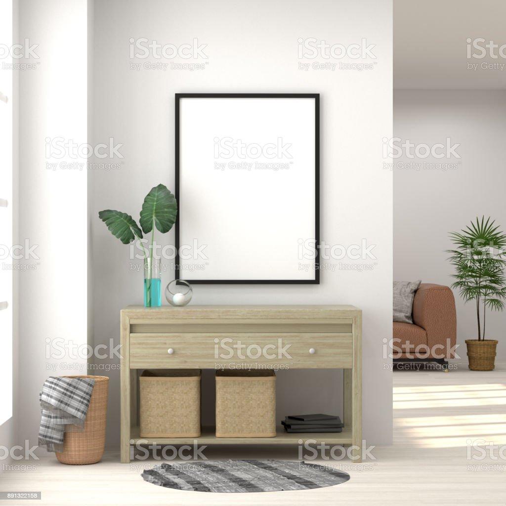 Maquette Frame Blanc Chambre Meuble Salon Fond Intérieur Rendu 3d Et ...