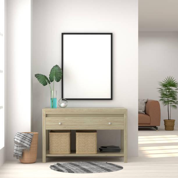 mock-up frame whiteroom schrank im wohnzimmer interieur hintergrund, 3d-rendering und sofa auf leere wand und ornamentalen treesmock, whiteroom schrank im wohnzimmer interieur hintergrund, 3d-rendering und sofa auf leere wand und ornamen - sideboard skandinavisch stock-fotos und bilder