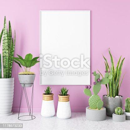 Mock up Frame with Plants. 3d Render