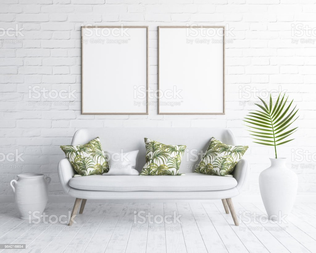 Mock Up Frames In Living Room Interior With White Sofa On White Brick Wall Scandinavian Style Stock Photo Download Image Now Istock