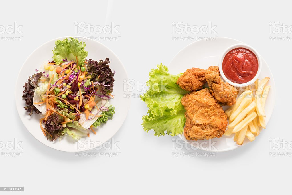 Mock up fresh salad and Fried chicken and chips. stock photo