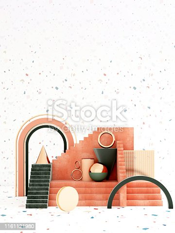 istock Mock up geometric abstract compositions illustrated, 3d rendering, 3d illustration 1161121980