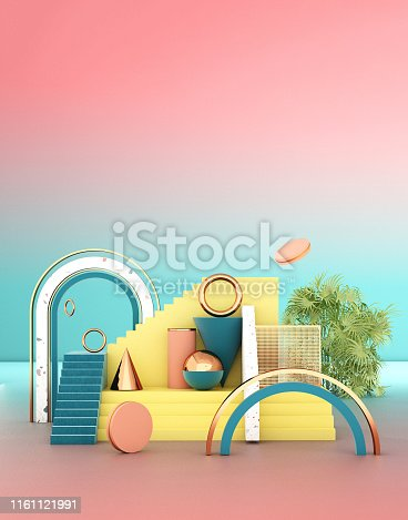 508881302 istock photo Mock up geometric abstract compositions illustrated, 3d rendering, 3d illustration 1161121991
