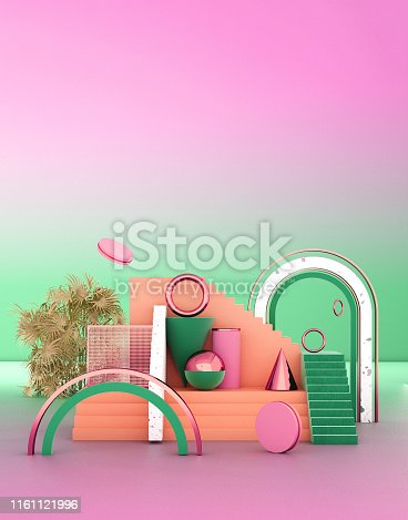 508881302 istock photo Mock up geometric abstract compositions illustrated, 3d rendering, 3d illustration 1161121996