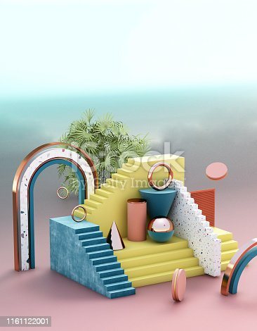istock Mock up geometric abstract compositions illustrated, 3d rendering, 3d illustration 1161122001
