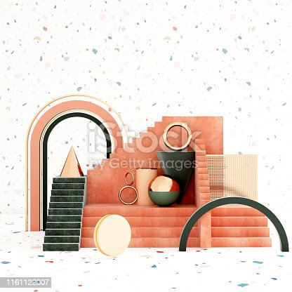 508881302 istock photo Mock up geometric abstract compositions illustrated, 3d rendering, 3d illustration 1161122007