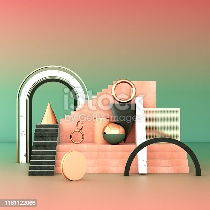 508881302 istock photo Mock up geometric abstract compositions illustrated, 3d rendering, 3d illustration 1161122066