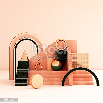 508881302 istock photo Mock up geometric abstract compositions illustrated, 3d rendering, 3d illustration 1161122071