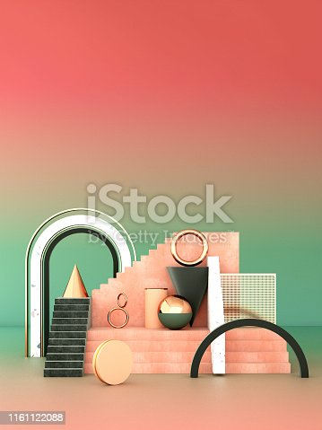 508881302 istock photo Mock up geometric abstract compositions illustrated, 3d rendering, 3d illustration 1161122088