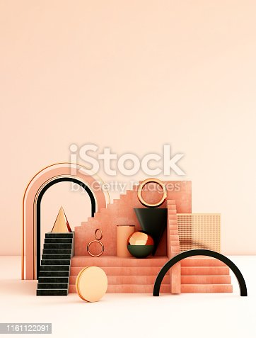 istock Mock up geometric abstract compositions illustrated, 3d rendering, 3d illustration 1161122091