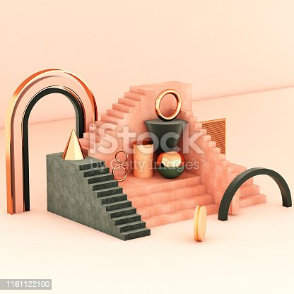 508881302 istock photo Mock up geometric abstract compositions illustrated, 3d rendering, 3d illustration 1161122100
