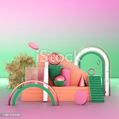 508881302 istock photo Mock up geometric abstract compositions illustrated, 3d rendering, 3d illustration 1161122132