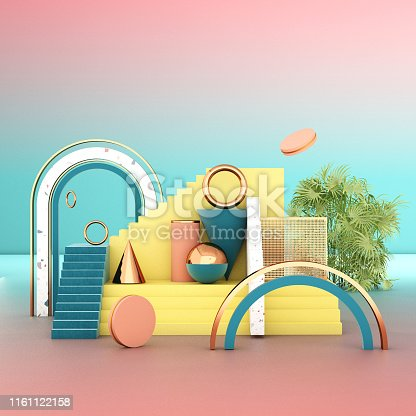 508881302 istock photo Mock up geometric abstract compositions illustrated, 3d rendering, 3d illustration 1161122158