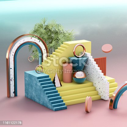 508881302 istock photo Mock up geometric abstract compositions illustrated, 3d rendering, 3d illustration 1161122178