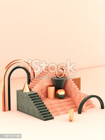 508881302 istock photo Mock up geometric abstract compositions illustrated, 3d rendering, 3d illustration 1161122184