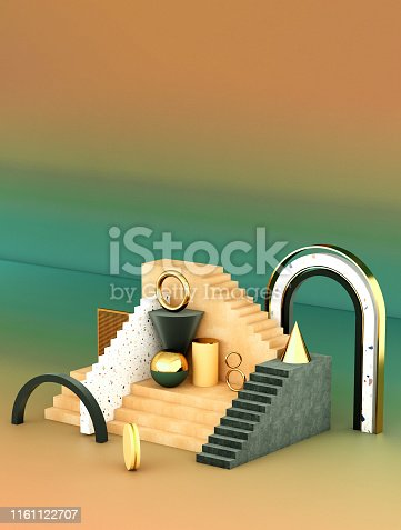 508881302 istock photo Mock up geometric abstract compositions illustrated, 3d rendering, 3d illustration 1161122707