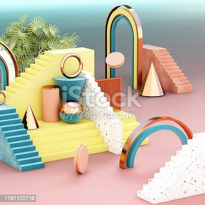 istock Mock up geometric abstract compositions illustrated, 3d rendering, 3d illustration 1161122716