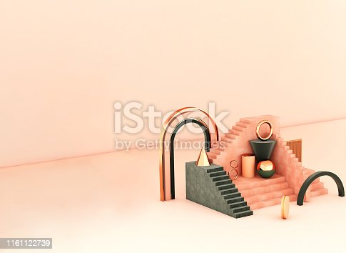 508881302 istock photo Mock up geometric abstract compositions illustrated, 3d rendering, 3d illustration 1161122739