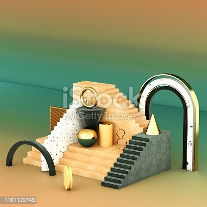 508881302 istock photo Mock up geometric abstract compositions illustrated, 3d rendering, 3d illustration 1161122743