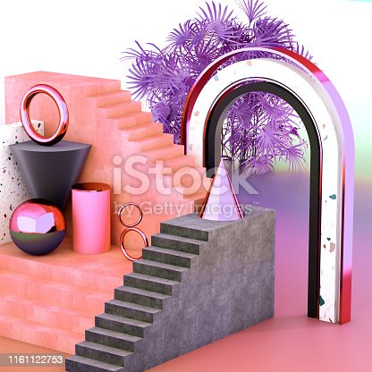 508881302 istock photo Mock up geometric abstract compositions illustrated, 3d rendering, 3d illustration 1161122753