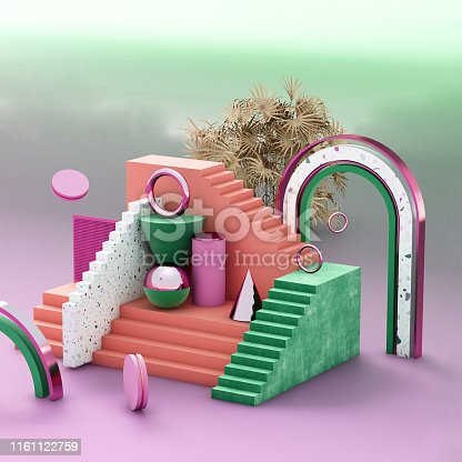 508881302 istock photo Mock up geometric abstract compositions illustrated, 3d rendering, 3d illustration 1161122759