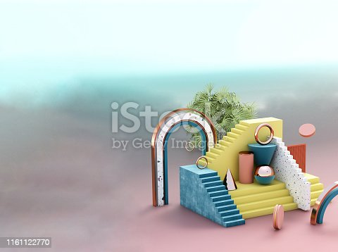 508881302 istock photo Mock up geometric abstract compositions illustrated, 3d rendering, 3d illustration 1161122770