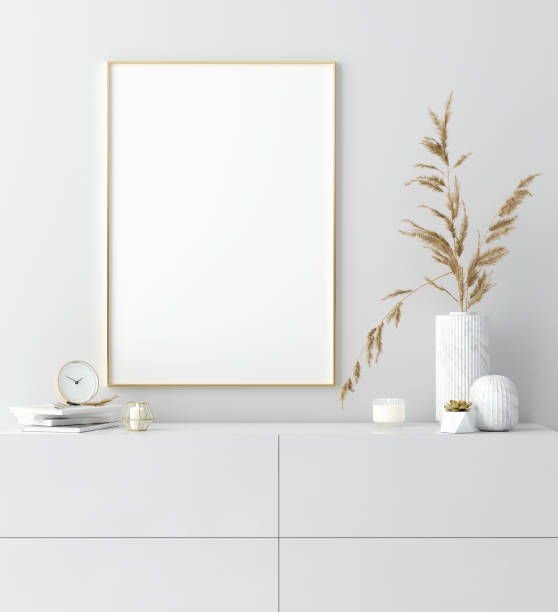 심플한 모던 한 장식, 스칸디나비아 스타일로 흰색 인테리어의 황금 프레임을 조롱 - 옷서랍 뉴스 사진 이미지